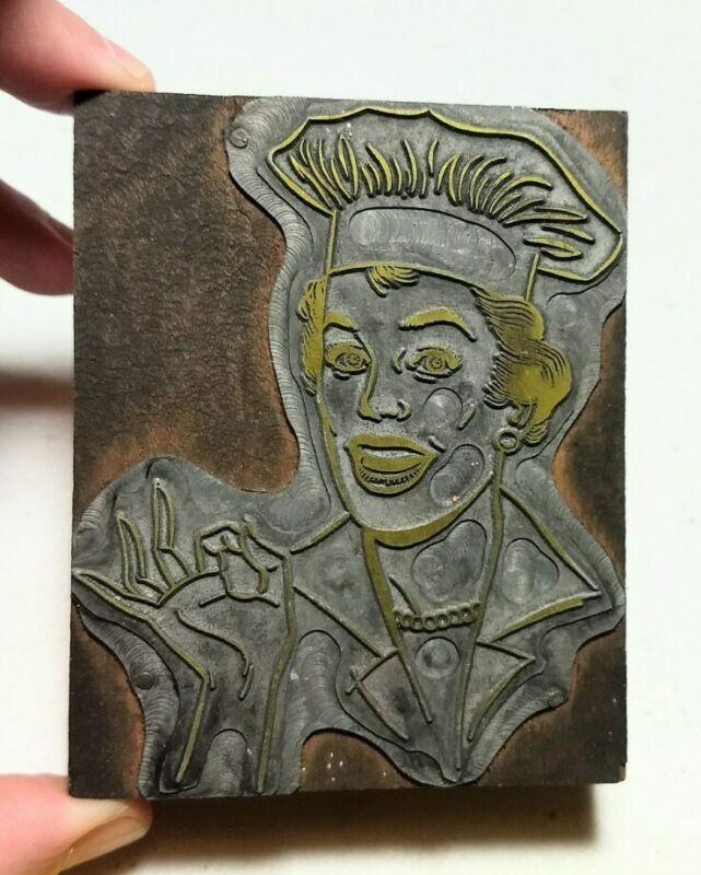 Vintage Letterpress Printing Block Woman Chef Julia Child?