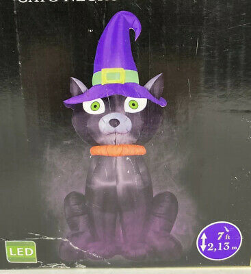 Gemmy Airblown Inflatable 7Ft Halloween Black Cat with Witch Hat LED Lighted