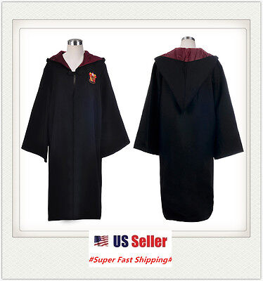 New Harry Potter Robe Gryffindor School Kids Adults Magic Cosplay Cloak Gift Us