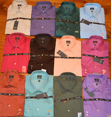 Men's Arrow Long Sleeve Fitted Button Front Dress Shirt Green, Purple, Blue, Tan