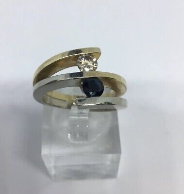 14K TWO-TONE DIAMOND and Sapphire BYPASS RING SIZE 7.25 14k Two Tone Diamond Band