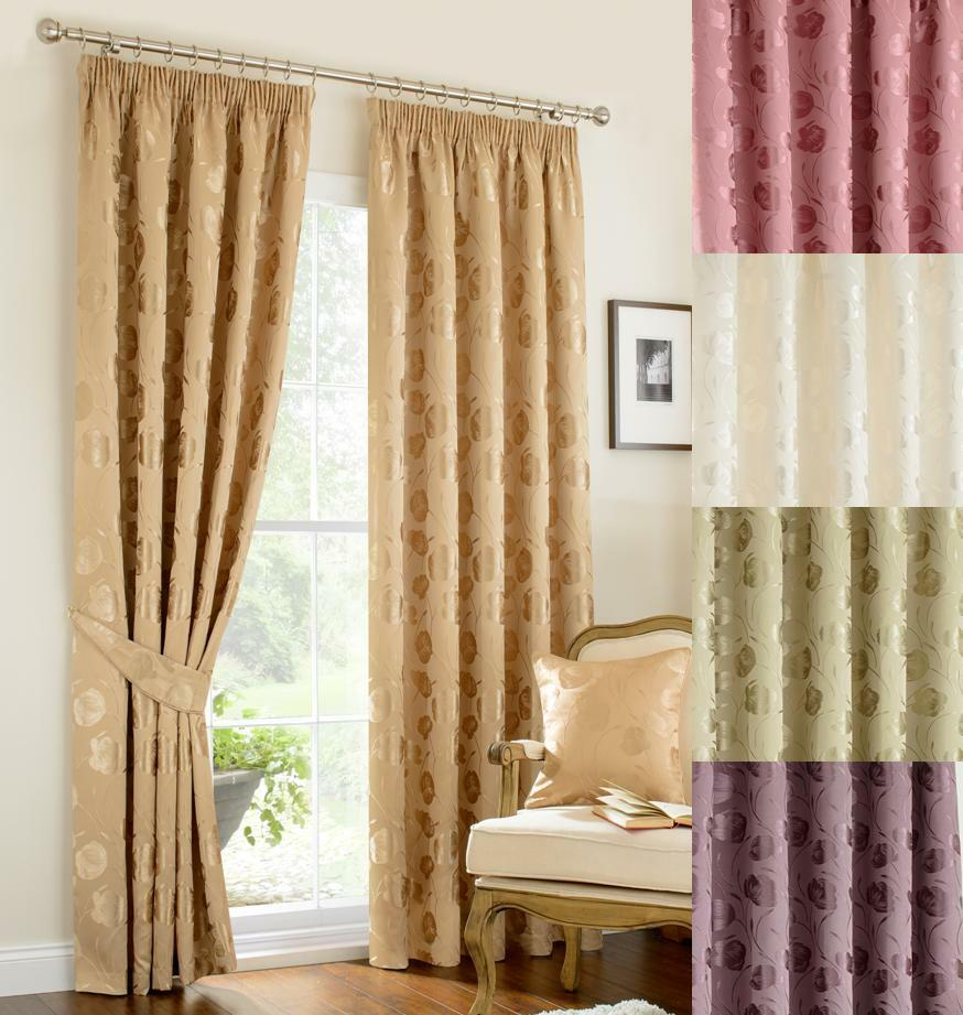 Lined Curtains Green Gold Ivory Mauve