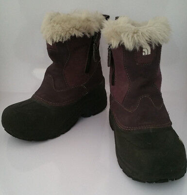 THE NORTH FACE Girls Purple Faux Fur Greenland Zip Winter Snow Boots Shoes Sz 2
