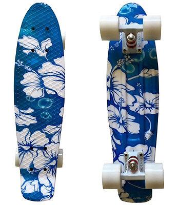 LMAI 22''Cruiser Skateboard Graphic WFBB Floral Board Complete Retro Penny Style