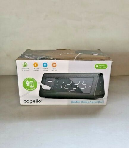 Capello Double Charge Alarm Clock, Dual USB Chargers Fast Charge