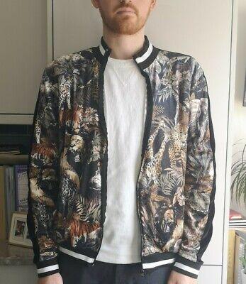 JADED LONDON Exotic Animal Print Velour Bomber Summer Jacket in Mens XL