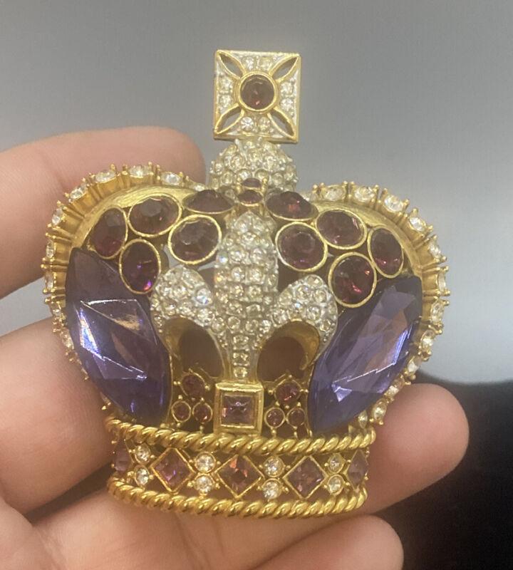 Vintage BUTLER & WILSON Crown Fleur De Lis Brooch Swarovski Crystals