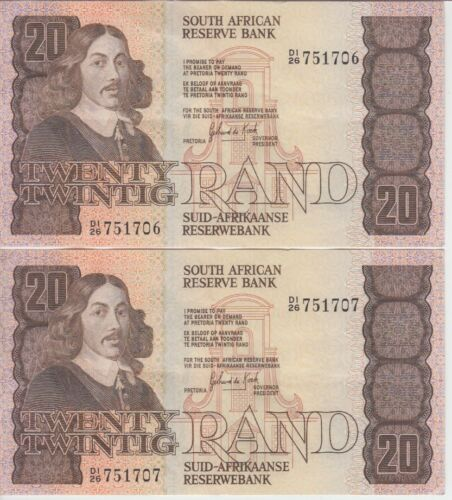 South Africa Banknote P121c 20 Rand, Signature 6, Consecutive Pair, EF