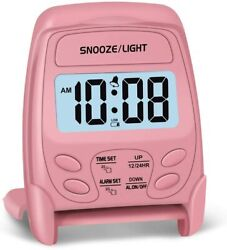 Travel Digital Alarm Clock Foldable Battery Operated Snooze Light Pink Small
