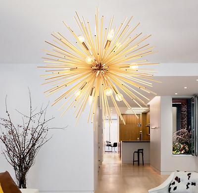 Modern E14 Gold Sputnik Light Chandelier Ceiling Pendant Lam