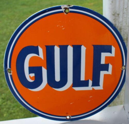 VINTAGE GULF GASOLINE PORCELAIN GAS SIGN PUMP PLATE SERVICE STATION GARAGE OIL