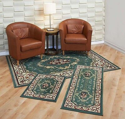 Throw over Rugs 3 Piece Set Living Room Bedroom Area Floor Mat Runner Scatter Green