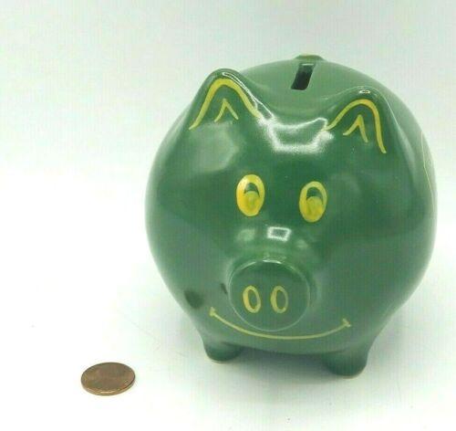 Vintage Licensed Ceramic John Deere Piggy Bank Green Pig Bank Green Yellow