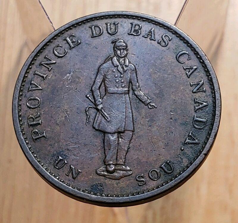 Canada 1837 City Bank Half Penny Bank Token  Breton 522 LC-8A2 Slanted V