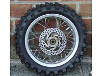 Motorcycle spares KTM 50cc MX Back wheel complete with good tyre and disc - To clear at £60