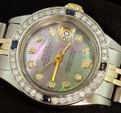 Rolex Lady Datejust Oyster Stainless Gold Diamond Dial Bezel Sapphire Watch