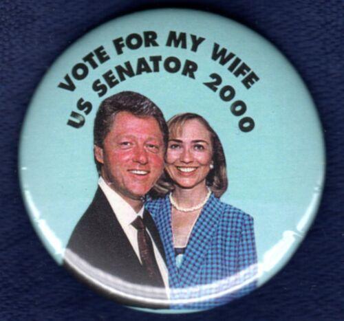 HILLARY CLINTON NEW YORK SENATE EARLY CAREER POLITICAL CAMPAIGN PINBACK BUTTON 2