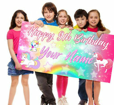 Customized Banner For Birthday (Unicorn Happy Birthday Vinyl Banner Personalized)
