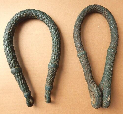 Pair Antique 19th C Sailor Woven Painted Original Beckets Secure Ropes Pulleys