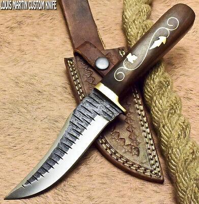 LOUIS MARTIN CUSTOM HANDMADE FIXED BLADE HAMMERED D2 TOOL STEEL HUNTING KNIFE