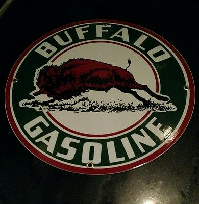 Buffalo Gasoline Oil Gas Round Porcelain Advertising Sign     12