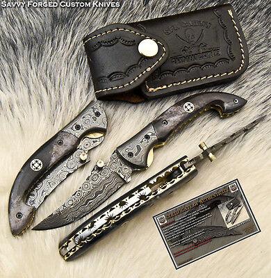SFK CUTLERY CUSTOM HAND MADE DAMASCUS POCKET FOLDING KNIFE| LINER LOCK | FO-1773
