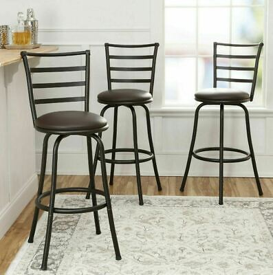 3 PACK Swivel Bar Stools Adjustable Counter Height Kitchen Dining Chair Bronze