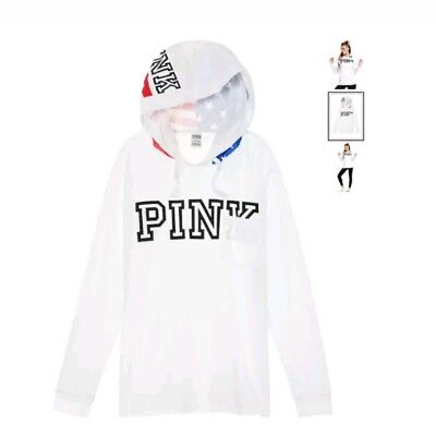 Victorias Secret Pink Hooded Campus Tee Usa Flag Xs 4Th Of July Americana