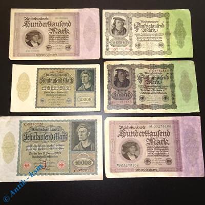 6 x Reichsbanknoten Deutschland , je 2 x 10 , 50 und 100.000 Mark ,Varianten