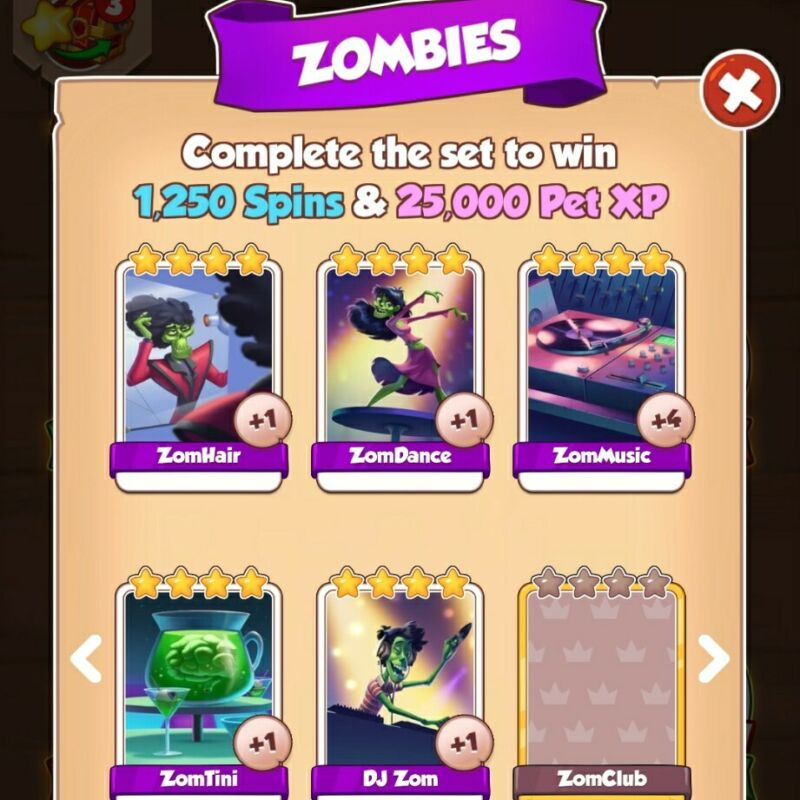 Zombies - FULL Set (NEW) - Coin Master - Immediate Delivery