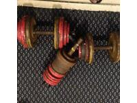 Cast iron weights, dumbell, bench