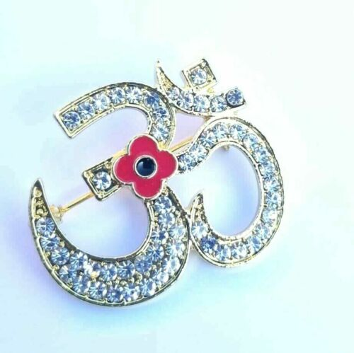 Stunning+Diamonte+Gold+Plated+Indian+OMPoppy+Hindu+British+India+Brooch+Pin