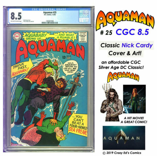 AQUAMAN # 25 CGC 8.5 VF+ SCARCE on Census! Classic NICK CARDY Art! LOW A$K L@@K!