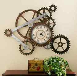 Wall Clock with Gears Industrial Wall Art Vintage Modern Metal Rustic Steampunk