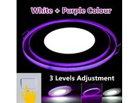 15W / 20W Dual Colours Purple + White LED Acrylic Panel Light Slim Round Recessed Ceiling Downlight