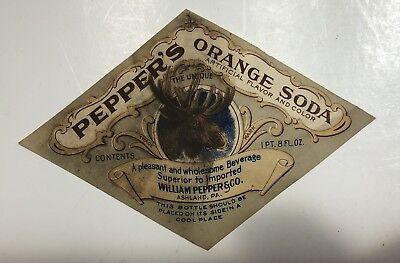 Orange Soda Label - Vintage Peppers Orange Soda Label New Old Stock NOS SHIPS FREE IN USA