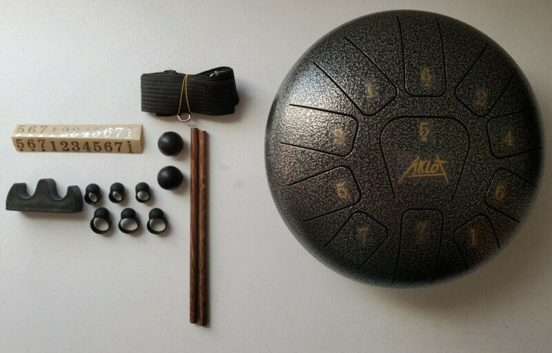 AKLOT 10 inch 11 Notes Tank Drum C Key Percussion Steel Drum Kit w/ Drum Mallets