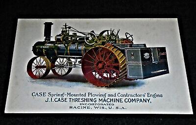 RARE Case Steam Engine Tractor, Racine Wisconsin Vintage Advertising Postcard