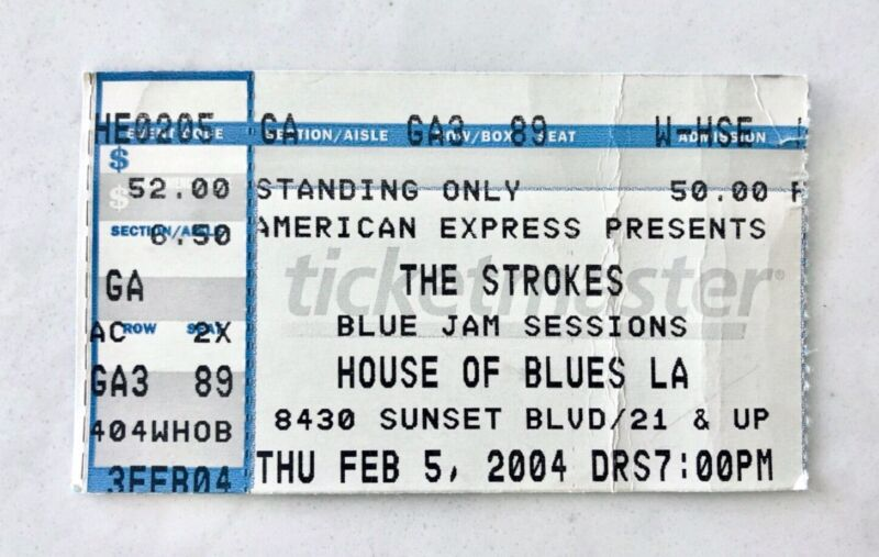 """THE STROKES """"ROOM ON FIRE TOUR"""" 2004 House of Blues LA Concert Ticket Stub"""