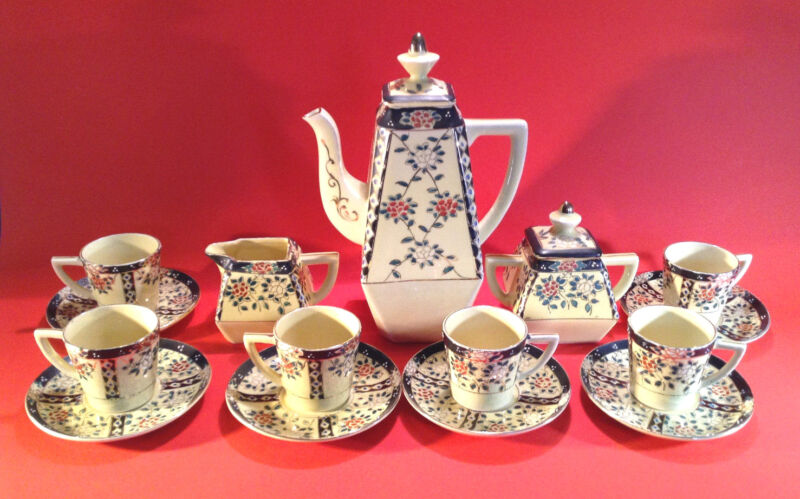 Hand Painted Yellow Boho Tea Set - Teapot Sugar Creamer - 6 Cups Saucers - Japan