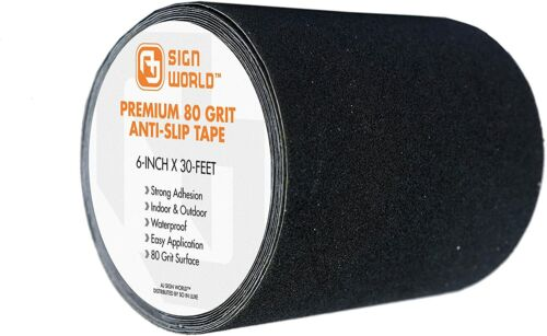 """BEST 6""""x30 FT Black Anti-Slip Safety Grip Tape, 80Grit Industrial Grade Traction"""