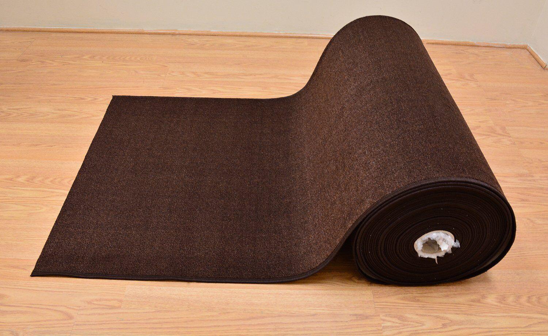 Custom Size Solid Brown indoor Hallway Non Slip Backing Runn