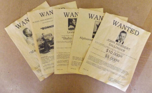 11 x 14 Set of 5 Gangster Wanted Posters Capone, Dillinger, Bonnie, Clyde, more