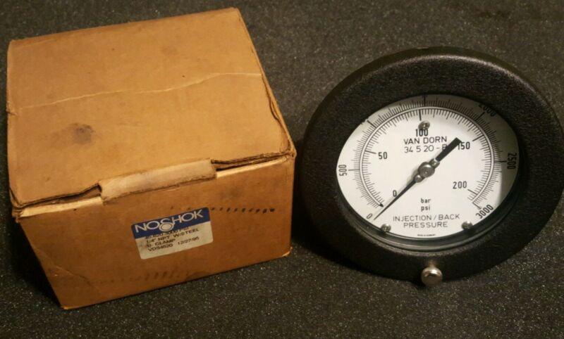 "NoShok Injection/Back Pressure Gauge for Van Dorn Molder 6"" Diameter 3000PSI"