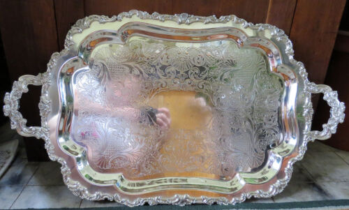 EXTRA LARGE Antique Silver Plate on Copper Tray with 2 handles – 30 inches