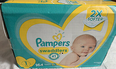 Pampers Swaddlers Soft and Absorbent Newborn Diapers, Size 1, 164 Ct