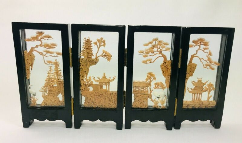 Vintage San You Chinese Asian 4 Panel Carved Cork Folding Screen Diorama