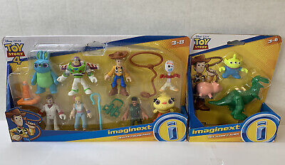 Imaginex Toy Story 4 Lot with Deluxe Figure Pack Woody Buzz + Rex, Hamm & Alien