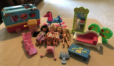 Lot Kelly Barbie Sister Friends Accessories And Shopkins Bus. Furniture Too