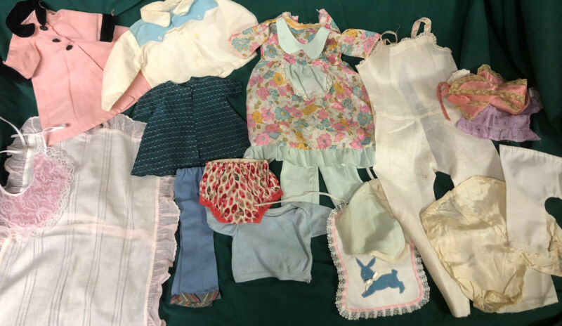 lot of miscellaneous vintage doll clothes and accessories